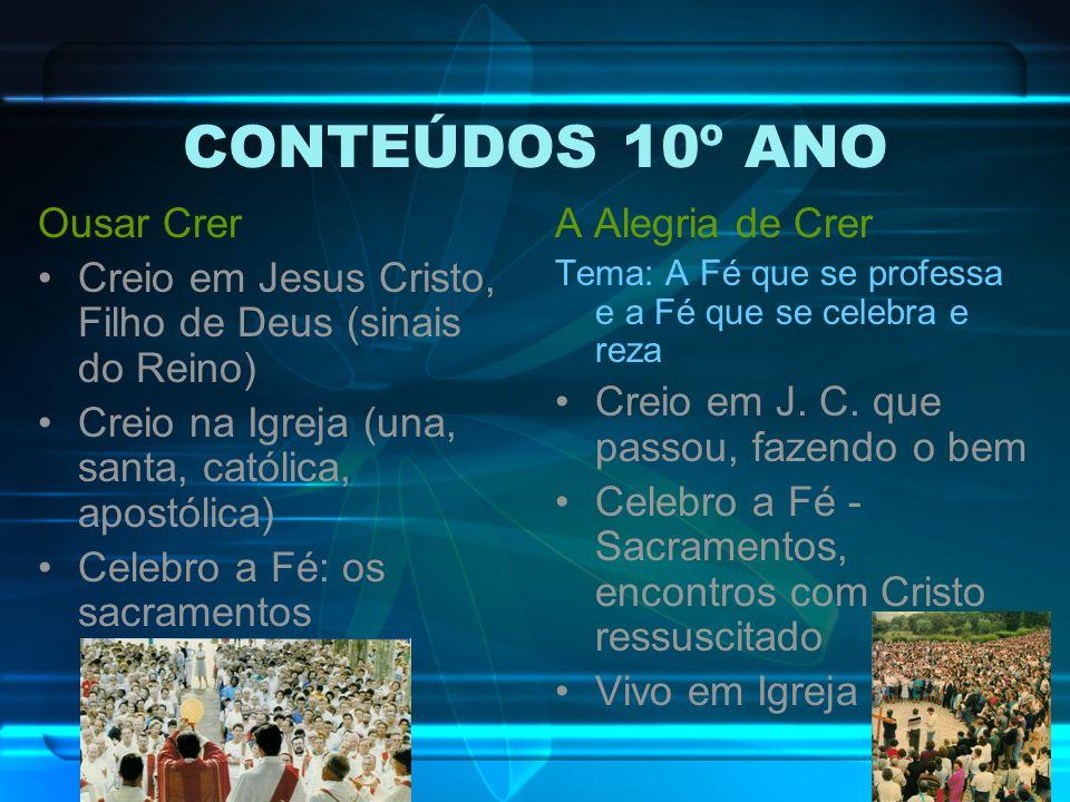 CONTEÚDOS 10º ANO Ousar Crer