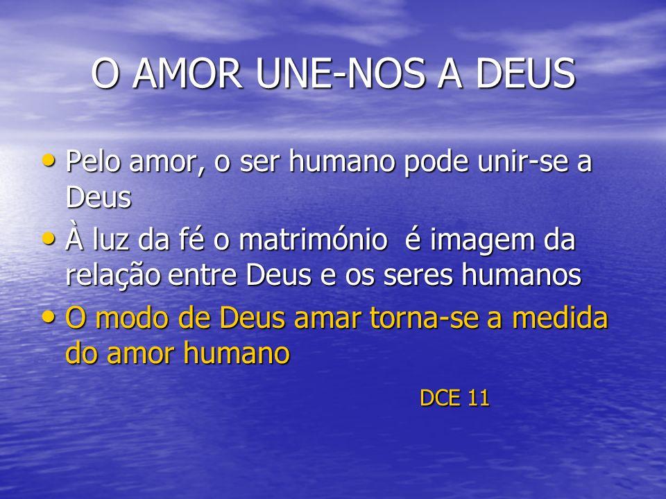 O AMOR UNE-NOS A DEUS Pelo amor, o ser humano pode unir-se a Deus