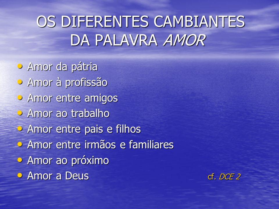 OS DIFERENTES CAMBIANTES DA PALAVRA AMOR