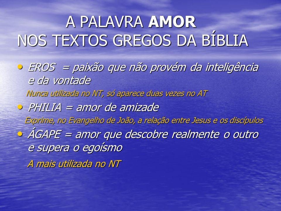 A PALAVRA AMOR NOS TEXTOS GREGOS DA BÍBLIA