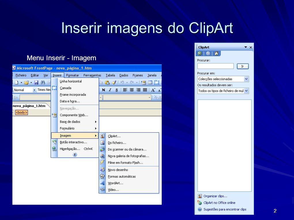 Inserir imagens do ClipArt