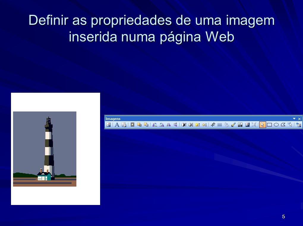 Definir as propriedades de uma imagem inserida numa página Web