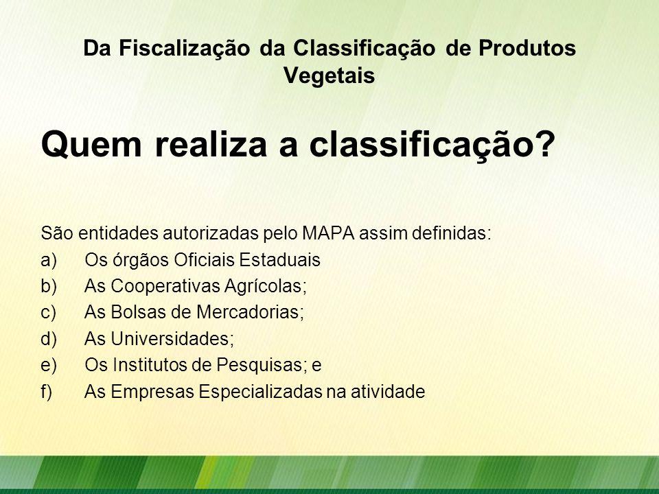 Da Fiscalização da Classificação de Produtos Vegetais