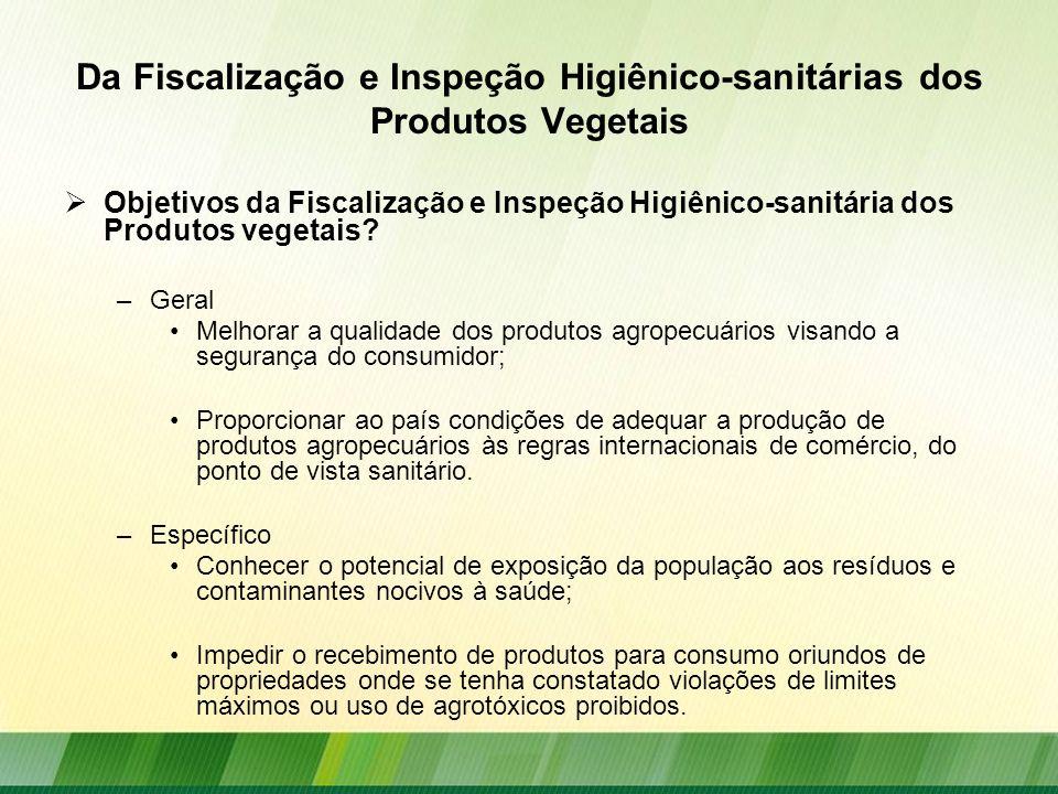 Da Fiscalização e Inspeção Higiênico-sanitárias dos Produtos Vegetais