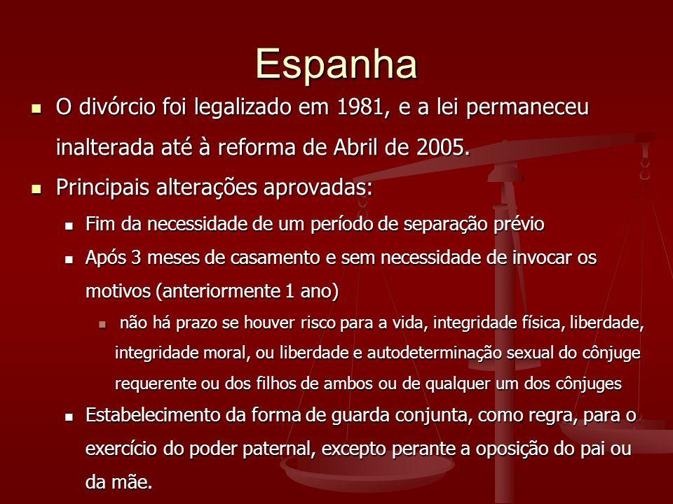 Espanha O divórcio foi legalizado em 1981, e a lei permaneceu inalterada até à reforma de Abril de 2005.