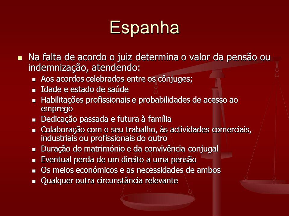 Espanha Na falta de acordo o juiz determina o valor da pensão ou indemnização, atendendo: Aos acordos celebrados entre os cônjuges;