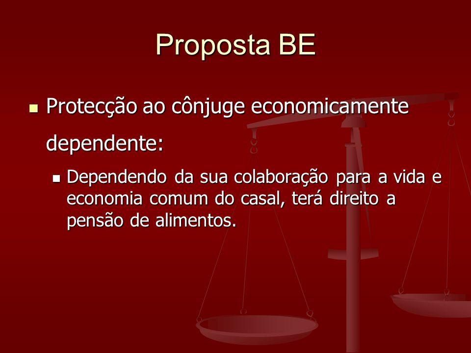 Proposta BE Protecção ao cônjuge economicamente dependente: