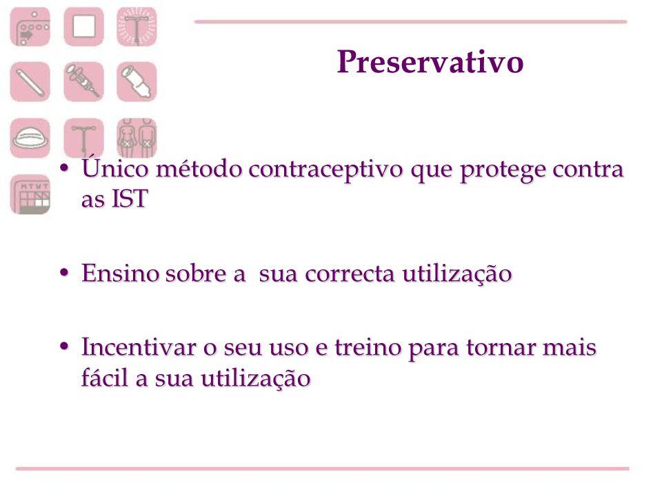 Preservativo Único método contraceptivo que protege contra as IST