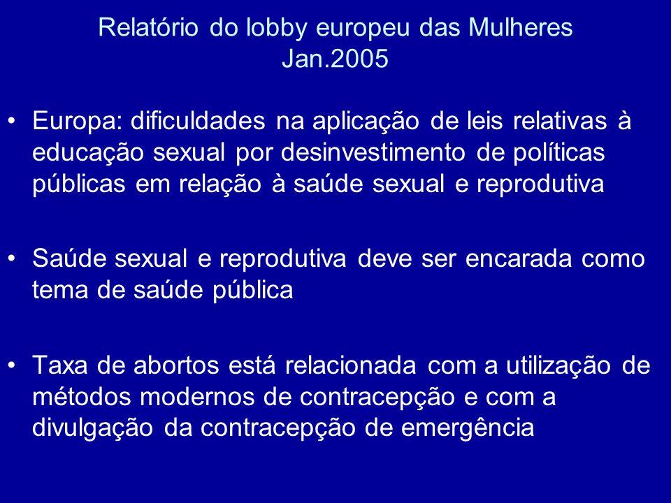 Relatório do lobby europeu das Mulheres Jan.2005