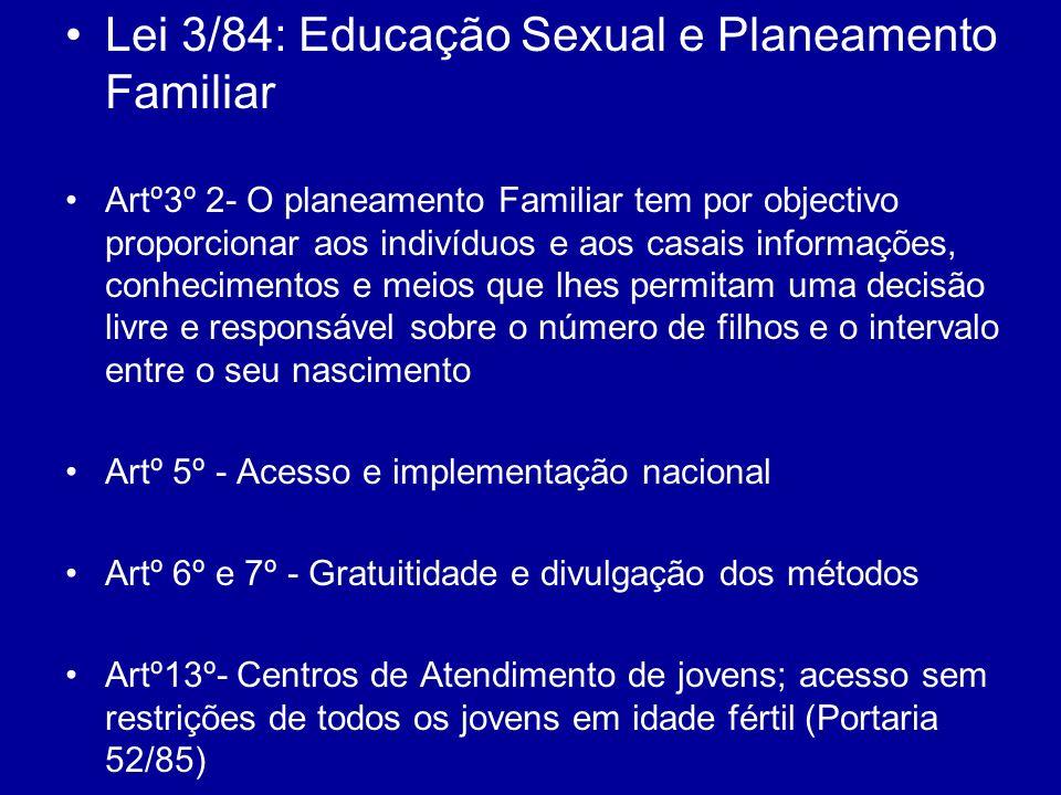 Lei 3/84: Educação Sexual e Planeamento Familiar