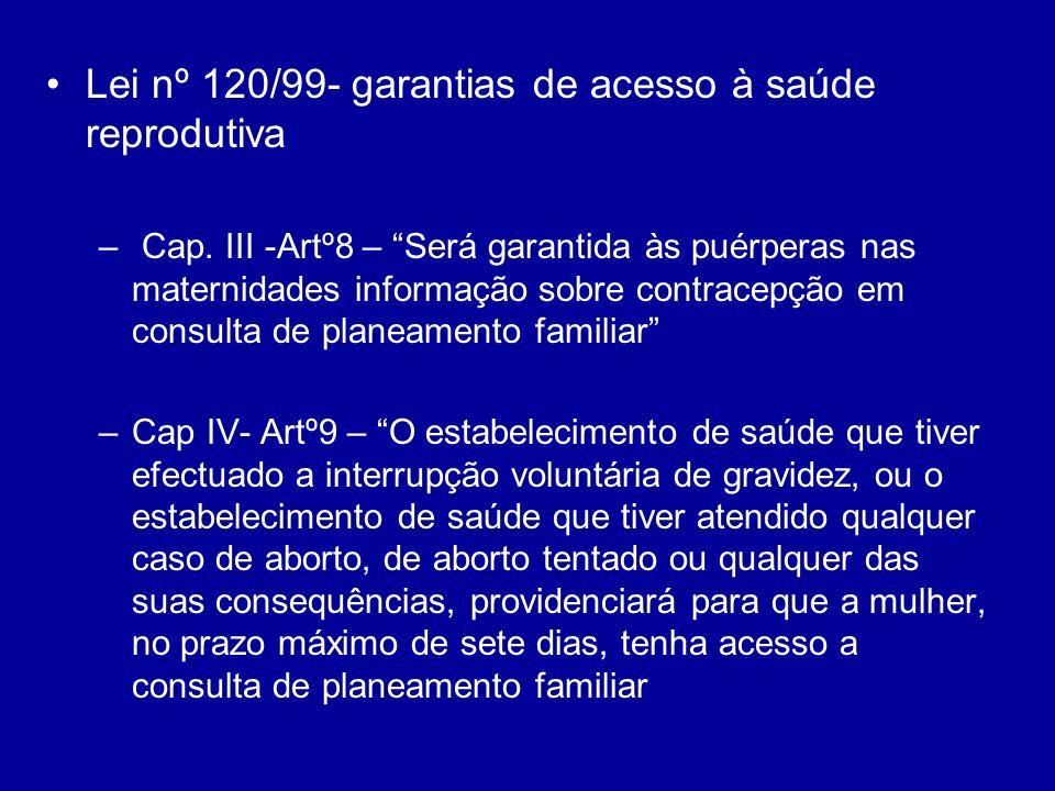Lei nº 120/99- garantias de acesso à saúde reprodutiva