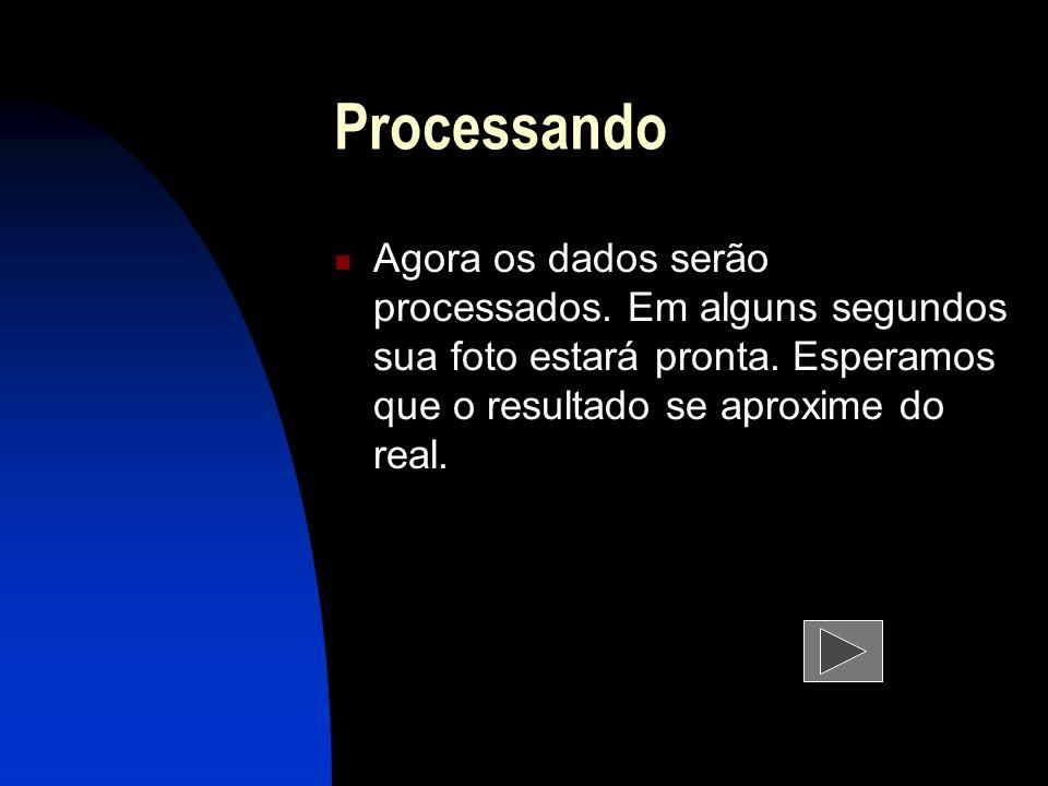 ProcessandoAgora os dados serão processados.Em alguns segundos sua foto estará pronta.