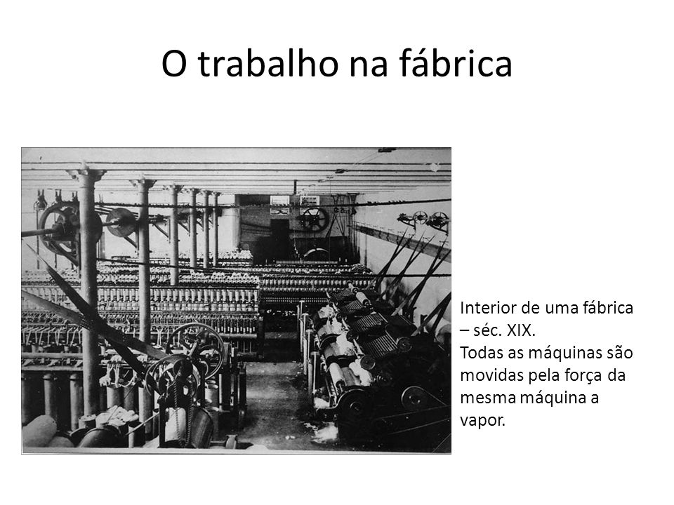 O trabalho na fábrica Interior de uma fábrica – séc. XIX.