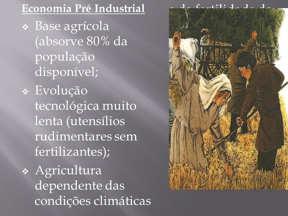 Base agrícola (absorve 80% da população disponível;