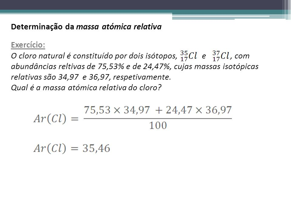 Determinação da massa atómica relativa