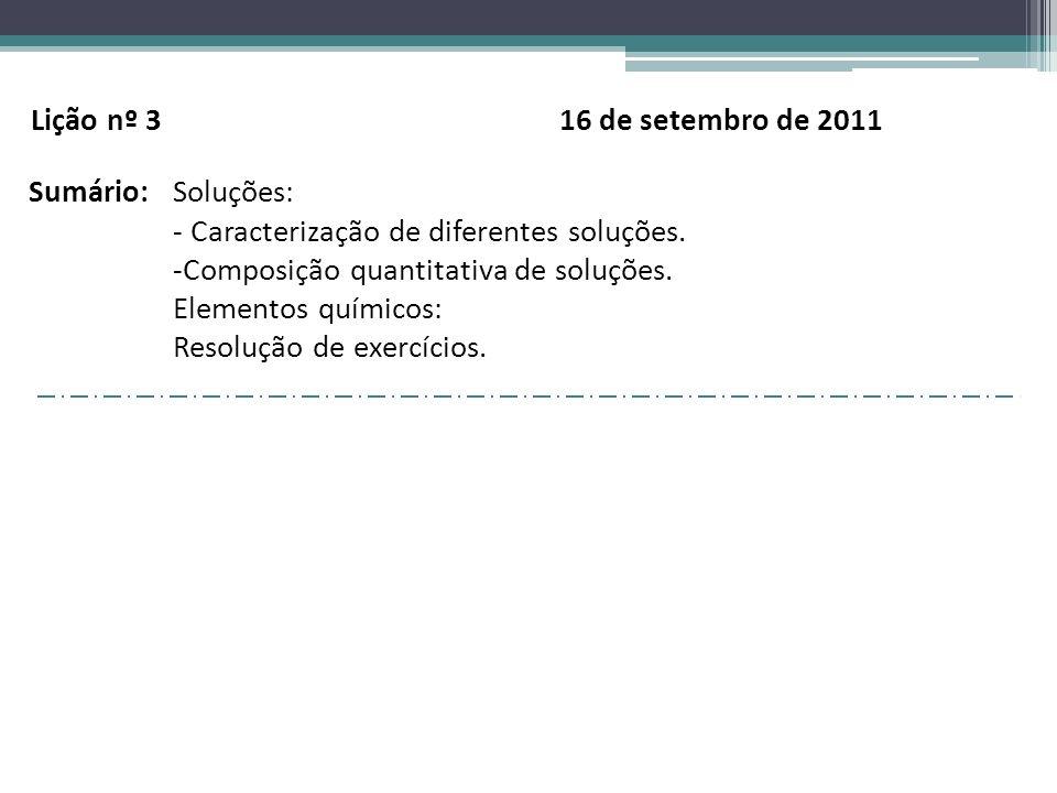 Lição nº 3 16 de setembro de 2011 Sumário: Soluções: - Caracterização de diferentes soluções.