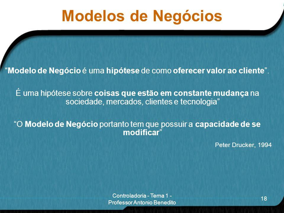 Modelos de Negócios Modelo de Negócio é uma hipótese de como oferecer valor ao cliente .