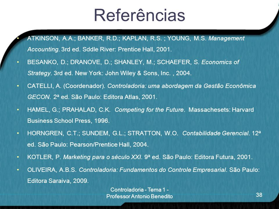 Controladoria - Tema 1 - Professor Antonio Benedito