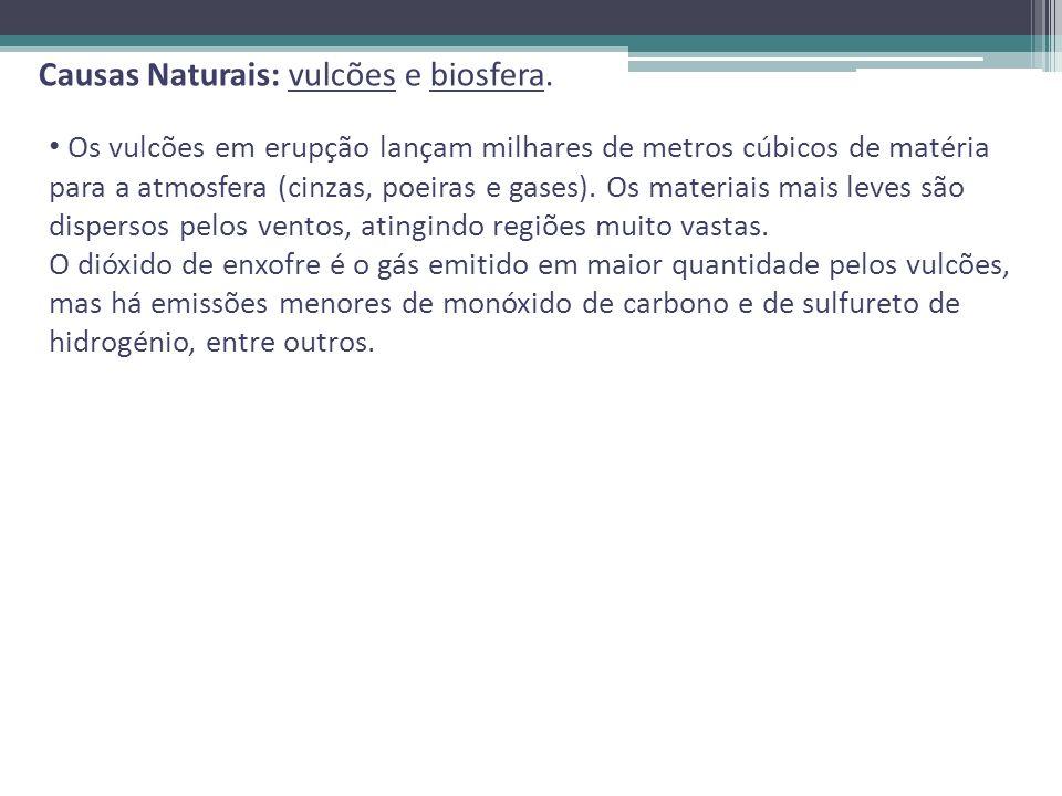 Causas Naturais: vulcões e biosfera.