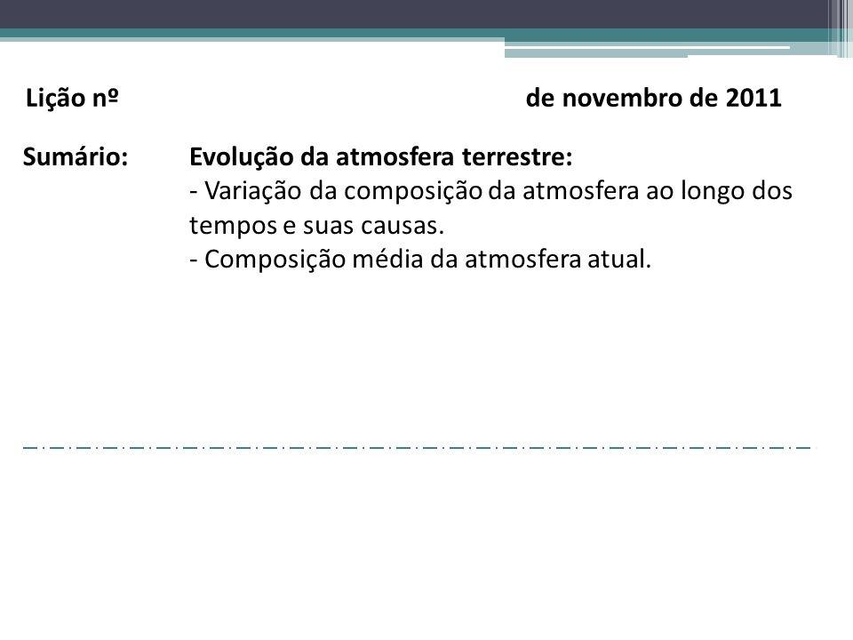 Lição nº de novembro de 2011 Sumário: Evolução da atmosfera terrestre: