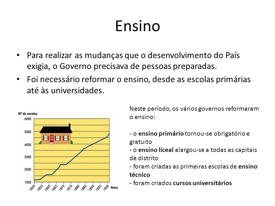 Ensino Para realizar as mudanças que o desenvolvimento do País exigia, o Governo precisava de pessoas preparadas.