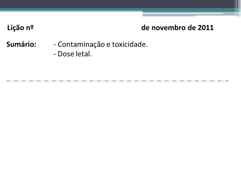 Lição nº de novembro de 2011 Sumário: Contaminação e toxicidade.