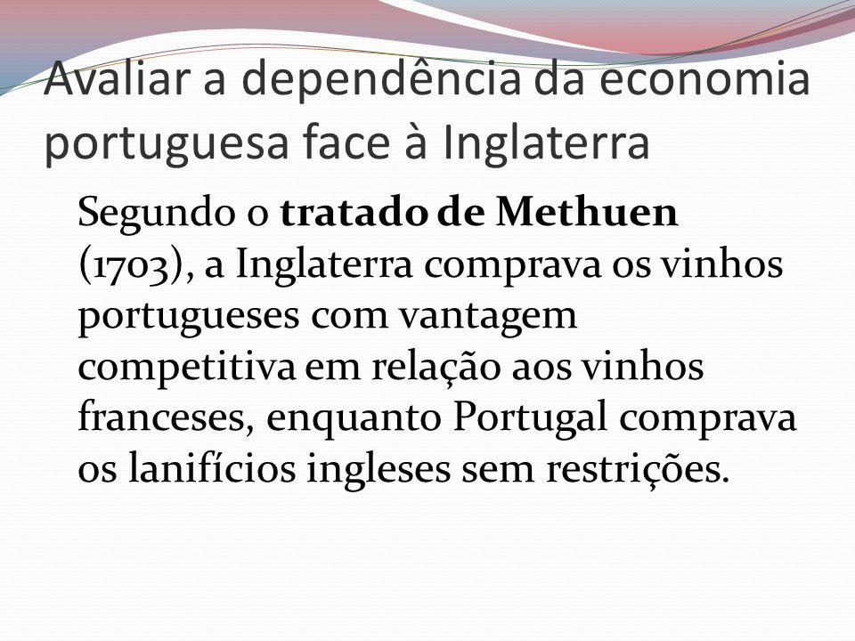 Avaliar a dependência da economia portuguesa face à Inglaterra