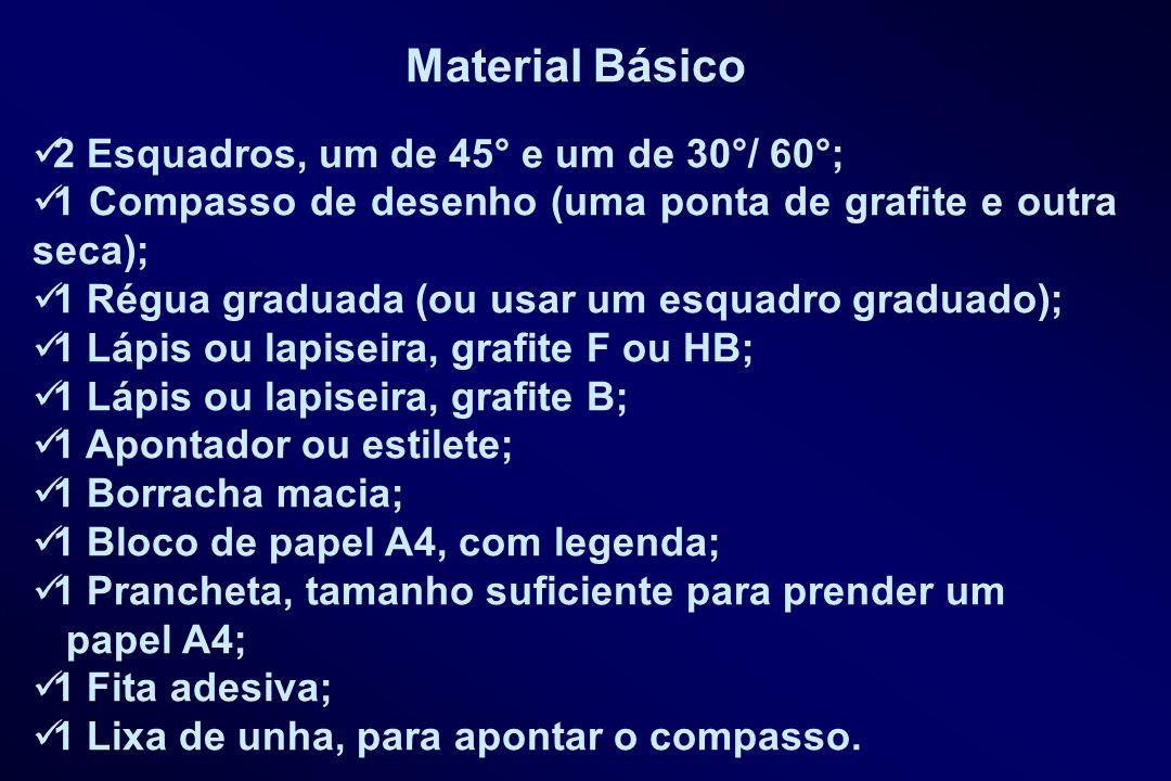Material Básico 2 Esquadros, um de 45° e um de 30°/ 60°;