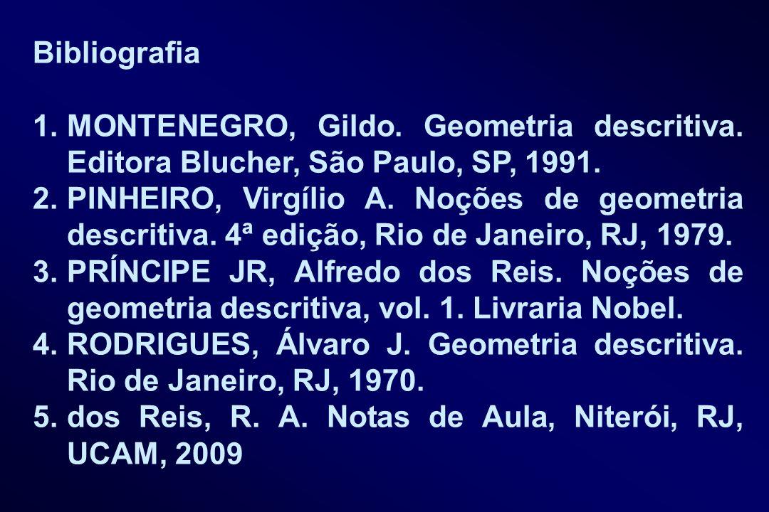 Bibliografia MONTENEGRO, Gildo. Geometria descritiva. Editora Blucher, São Paulo, SP, 1991.
