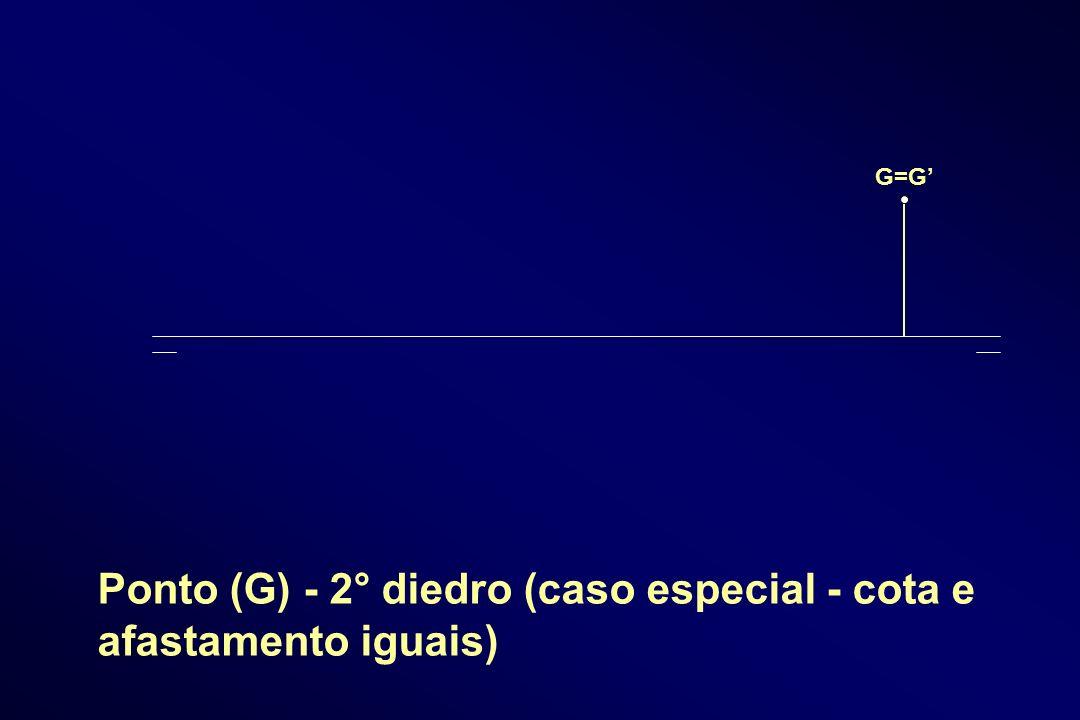 Ponto (G) - 2° diedro (caso especial - cota e afastamento iguais)
