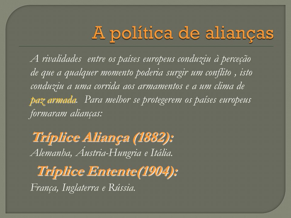 A política de alianças Tríplice Entente(1904):