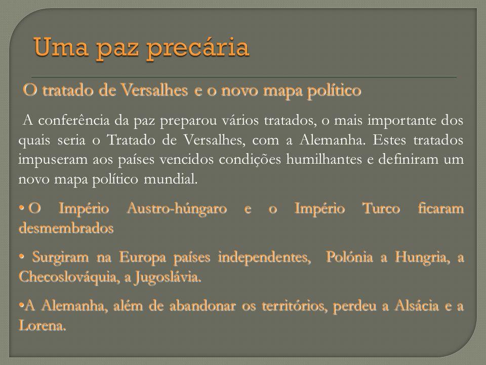 Uma paz precária O tratado de Versalhes e o novo mapa político