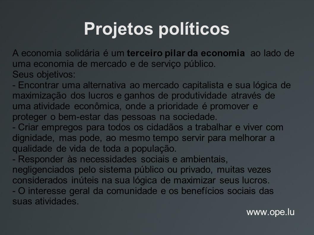 Projetos políticos A economia solidária é um terceiro pilar da economia ao lado de uma economia de mercado e de serviço público.