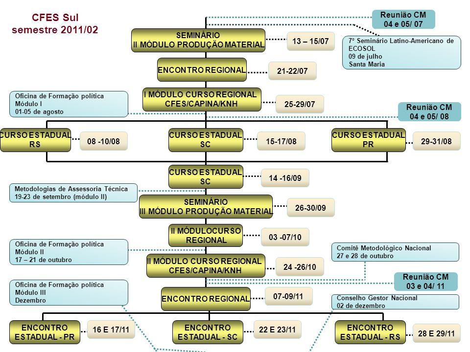 CFES Sul semestre 2011/02 Reunião CM 04 e 05/ 07 SEMINÁRIO