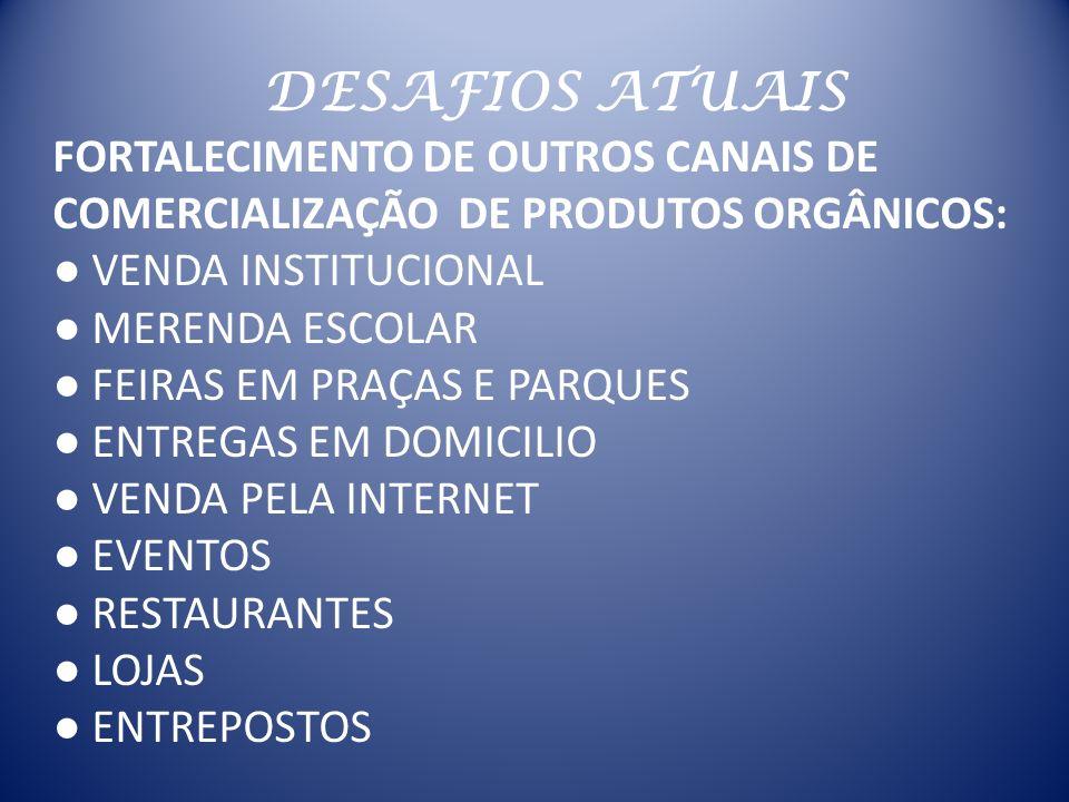 DESAFIOS ATUAIS FORTALECIMENTO DE OUTROS CANAIS DE COMERCIALIZAÇÃO DE PRODUTOS ORGÂNICOS: ● VENDA INSTITUCIONAL.