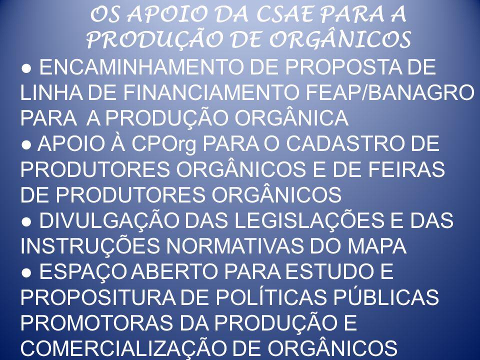 OS APOIO DA CSAE PARA A PRODUÇÃO DE ORGÂNICOS. ● ENCAMINHAMENTO DE PROPOSTA DE LINHA DE FINANCIAMENTO FEAP/BANAGRO PARA A PRODUÇÃO ORGÂNICA.