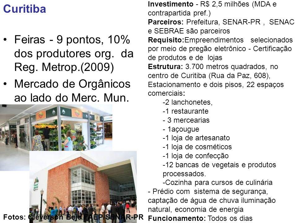 Feiras - 9 pontos, 10% dos produtores org. da Reg. Metrop.(2009)
