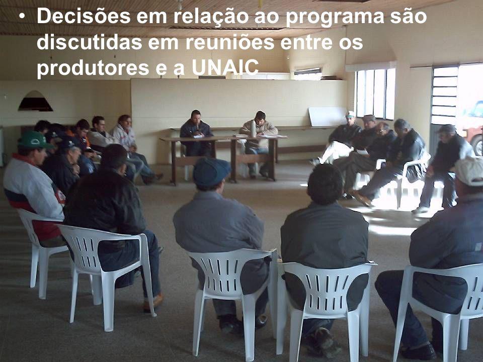 Decisões em relação ao programa são discutidas em reuniões entre os produtores e a UNAIC