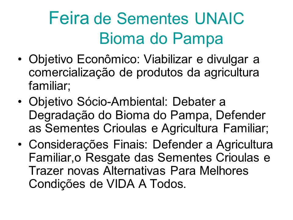 Feira de Sementes UNAIC Bioma do Pampa