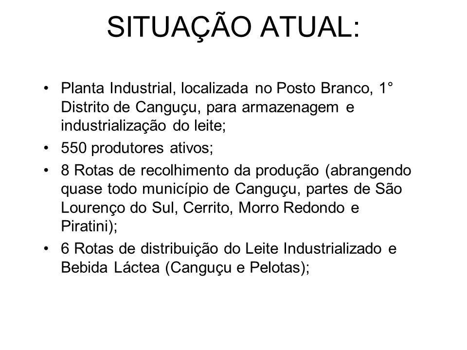 SITUAÇÃO ATUAL: Planta Industrial, localizada no Posto Branco, 1° Distrito de Canguçu, para armazenagem e industrialização do leite;