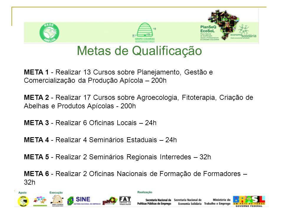 Metas de Qualificação META 1 - Realizar 13 Cursos sobre Planejamento, Gestão e Comercialização da Produção Apícola – 200h.