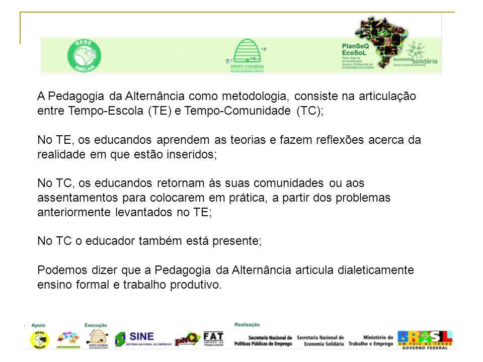 A Pedagogia da Alternância como metodologia, consiste na articulação entre Tempo-Escola (TE) e Tempo-Comunidade (TC);