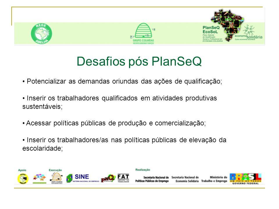 Desafios pós PlanSeQ Potencializar as demandas oriundas das ações de qualificação;