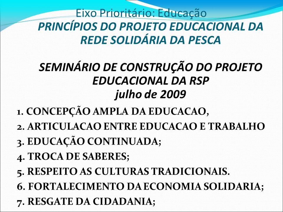 Eixo Prioritário: Educação PRINCÍPIOS DO PROJETO EDUCACIONAL DA REDE SOLIDÁRIA DA PESCA SEMINÁRIO DE CONSTRUÇÃO DO PROJETO EDUCACIONAL DA RSP julho de 2009