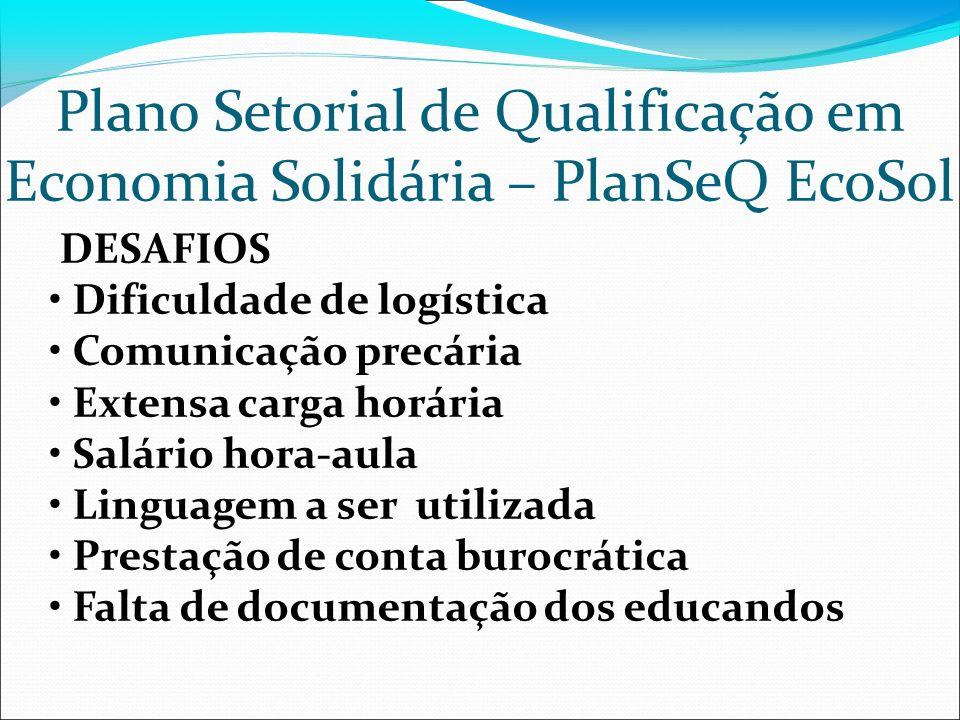 Plano Setorial de Qualificação em Economia Solidária – PlanSeQ EcoSol