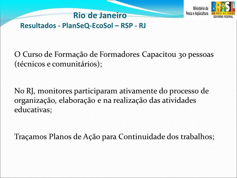 Rio de Janeiro Resultados - PlanSeQ-EcoSol – RSP - RJ