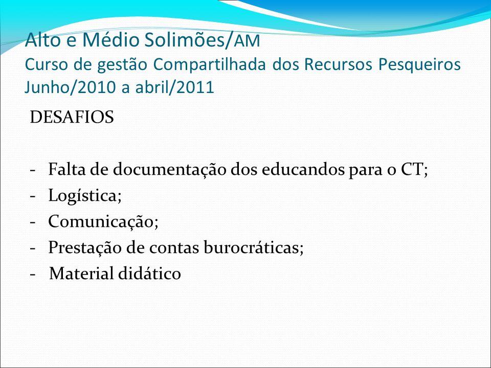 Alto e Médio Solimões/AM Curso de gestão Compartilhada dos Recursos Pesqueiros Junho/2010 a abril/2011