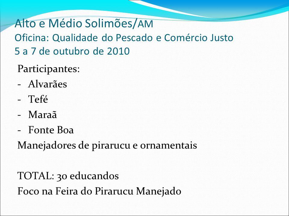 Alto e Médio Solimões/AM Oficina: Qualidade do Pescado e Comércio Justo 5 a 7 de outubro de 2010
