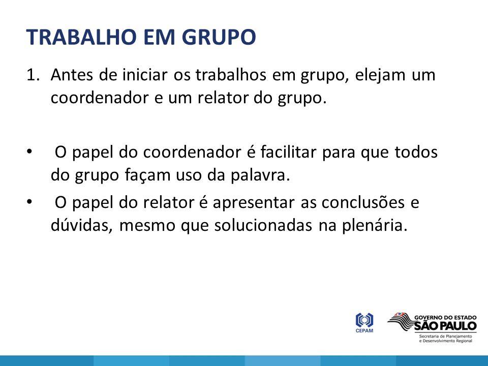 TRABALHO EM GRUPO Antes de iniciar os trabalhos em grupo, elejam um coordenador e um relator do grupo.