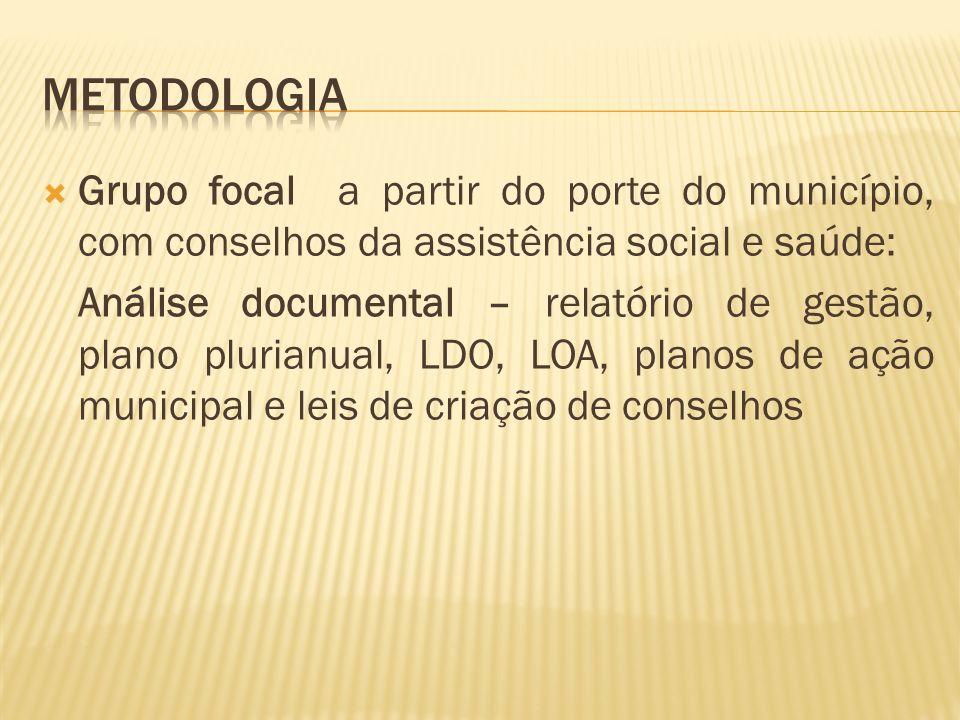 metodologia Grupo focal a partir do porte do município, com conselhos da assistência social e saúde: